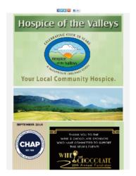 Hospice of the Valleys – September Newsletter 2016